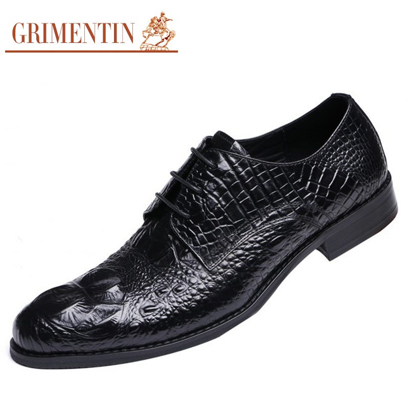 grimentin brand luxury crocodile grain mens dress shoes