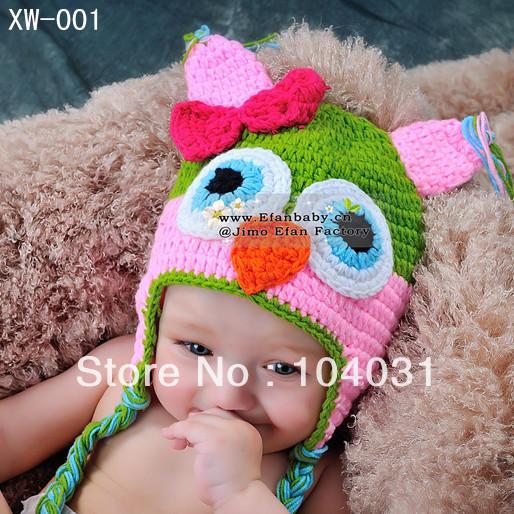 Free shipping 2013 new baby crochet owl hat knit winter animal caps newborn beanie hats chirstmas gift(China (Mainland))