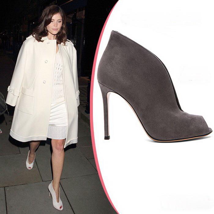 brand peep toe vamp suede bootie genuine leather high heel women evening shoes size41
