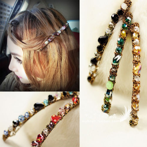 1 PCS Hot Women Girls Korean Fashion Crystal Rhinestone Barrette Hairpin Clip Hair Band Accessories(China (Mainland))