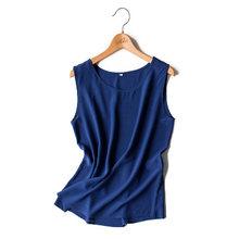 Mulheres tops de seda 100% Natural de seda camisa Sem Mangas Tanques Chiffon Sólida top básico camisa 2019 Verão Rosa Preto Cinza vinho(China)
