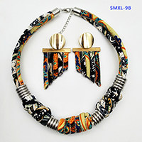 Dandie Stylish ethnic style cloth rope necklace with a set of earrings, vintage, simple feminine accessories(China)