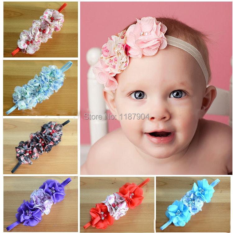 NEWBaby Newborn Toddler Girls Printed Chiffon flower Headband Rhinestone Head Wear Hair band Photography Prop 1 - Twinkle baby store