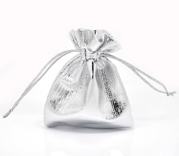 Hot 2016 New Jewelry Bag 100 Silver Plated Satin Gift Bags With Drawstring 9x7cm B16805 Jewelry Packaging(China (Mainland))