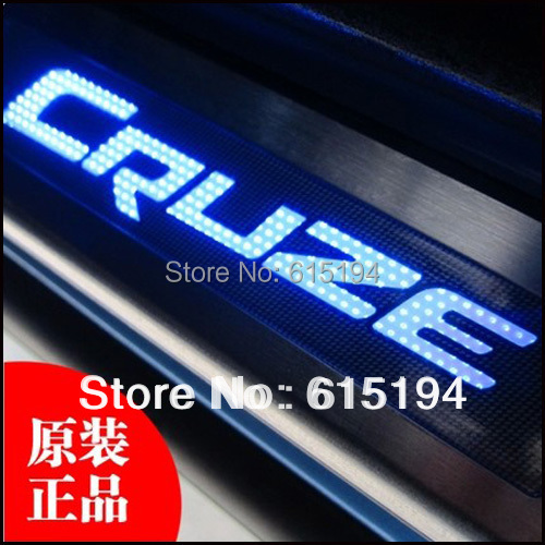 4PCS/set Car Door Pedals led Lights Chevrolet Chevy Cruze Stainless Steel Sill scuff Plate LED light  -  Guangzhou Top Store store