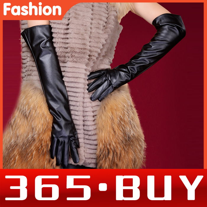 New Fashion Show Ladies Women Faux Leather Long Gloves 50CM Elbow Warm Black Gloves Mittens(China (Mainland))