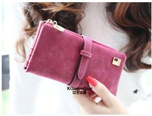 2015 New Fashion Women Wallet Matte Leather 7 Colors Clutch Wallets Ladies Long Clutches Two Fold