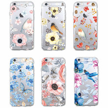 Buy Cute Bird Butterfly Floral Flower Soft Clear Phone Case Fundas Coque Cover iPhone 7 7Plus 6 6S 5 5S SE 5C SAMSUNG GALAXY for $1.59 in AliExpress store