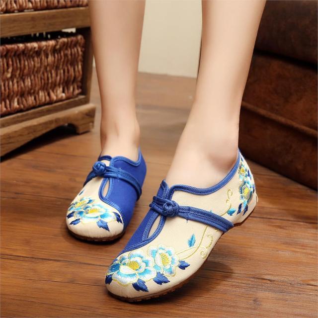 Урожай Цветочные Вышивка Обувь Женщина Китайский Стиль Мокасины Chaussure Femme Zapatos ...