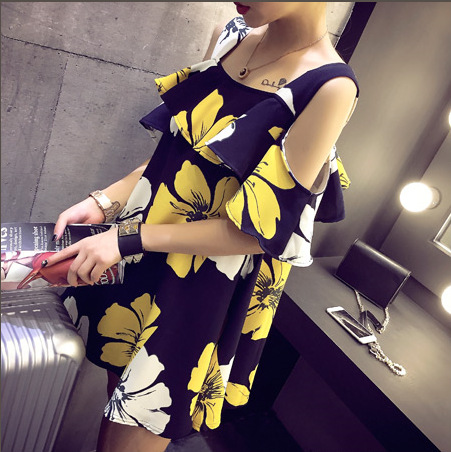 Summer flower women black yellow Pregnant Dress Shirts Clothes Top Maternity Dresses Clothing For Pregnancy MD154(China (Mainland))