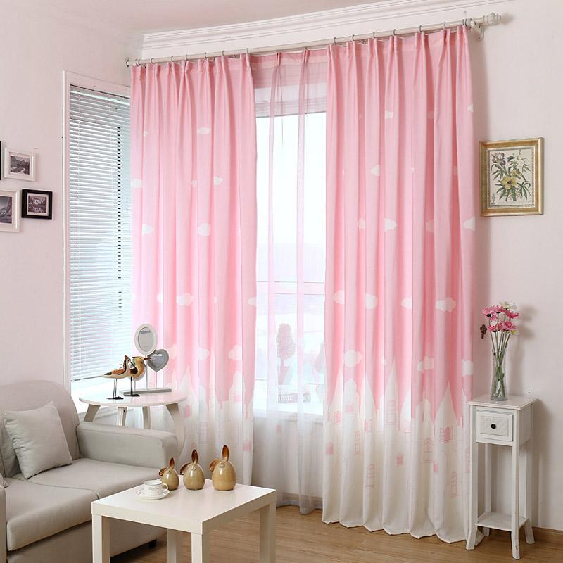 Pink Blue Cartoon Castle Shade Blinds Window Blackout Curtains For Children Kids Bedroom