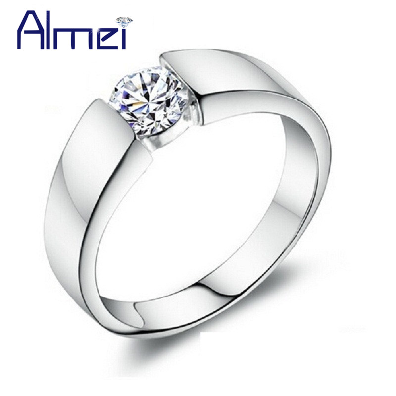 men women wedding band lover gift fashion classic simulated diamond