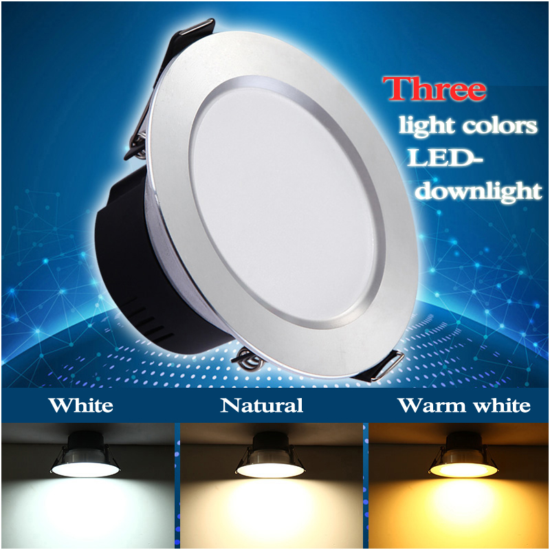 2015 New arrival 3 colors LED downlight, dimmable LED lamp, popular indoor lighting 110V-220V 50/60 Hz(China (Mainland))