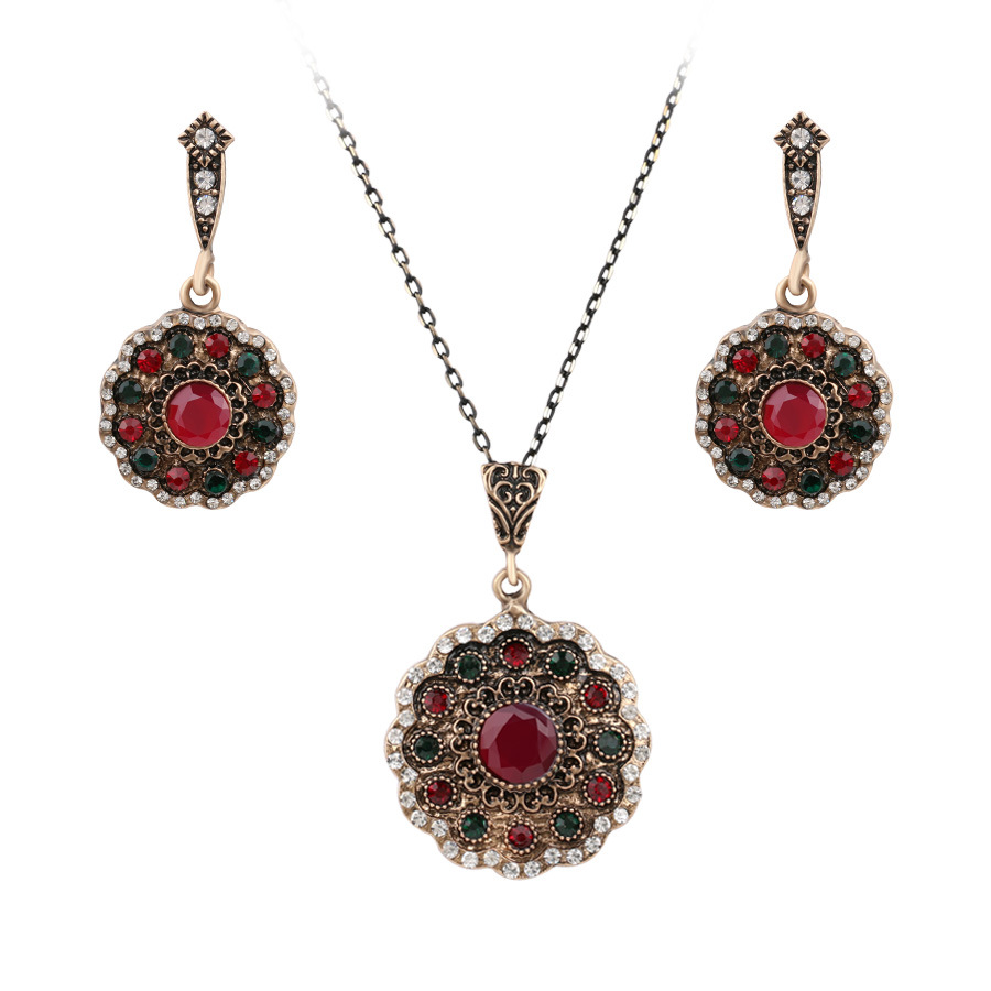 Vintage Retro Look Ruby Jewelry Set 2016 New Ethnic Style ...