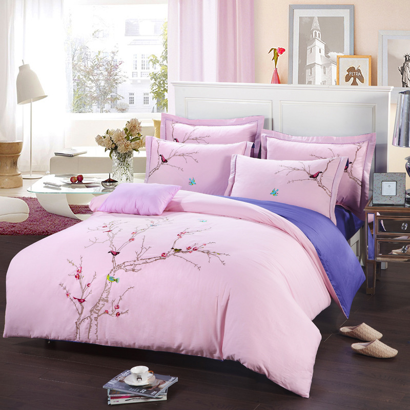 Plum Tree Colorful Birds Embroidered cotton Bedding set Queen King size Pink Duvet Cover Purple bedspread 4pc set bed in a bag(China (Mainland))
