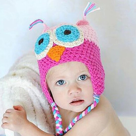 Animal girl baby winter hats,infant owl crochet baby hat,Handmade all for children clothing and Accessories newborn caps #3C2650(China (Mainland))