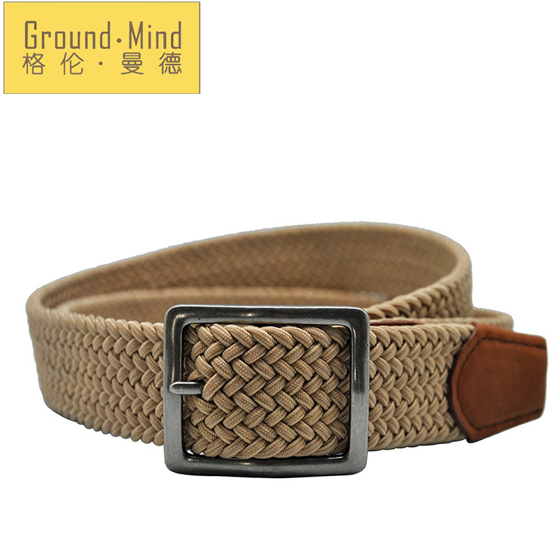 2016 New elastic braided men belts woven strap genuine leather tip & head classic design casual style for jeans(Brown)(China (Mainland))