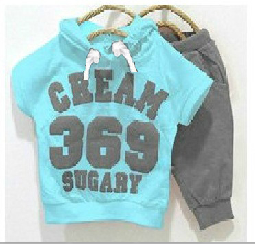 New 2015 girls boys clothing sets Baby summer cream 369 Short sleeve Hoodies+Pants Sport suits 2pcs kids Set Childrens clothes(China (Mainland))