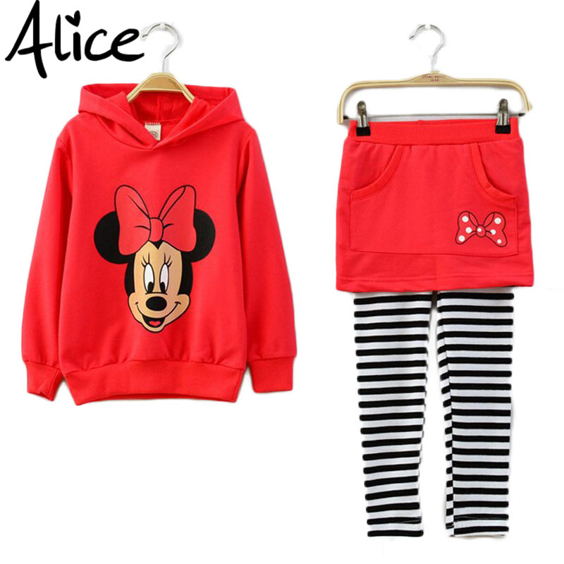 Autumn Girls clothing set Minnie Mouse t-shirt + leggings 2pcs / set culottes Cartoon hooded sweater hoodie two-piece suit(China (Mainland))