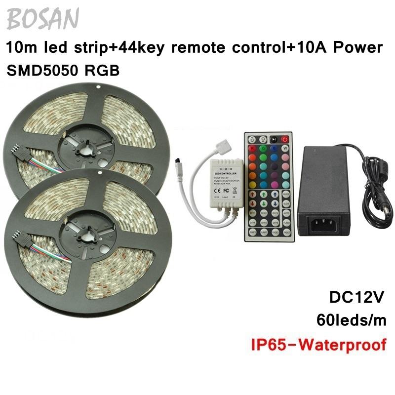 10M RGB 5050 LED Strip Light Waterproof Outdoor Decoration Lighting IP65 DC12V 60LEDs/M 300LEDs+44Key IR Remote Controller - Tomtop supermarket store
