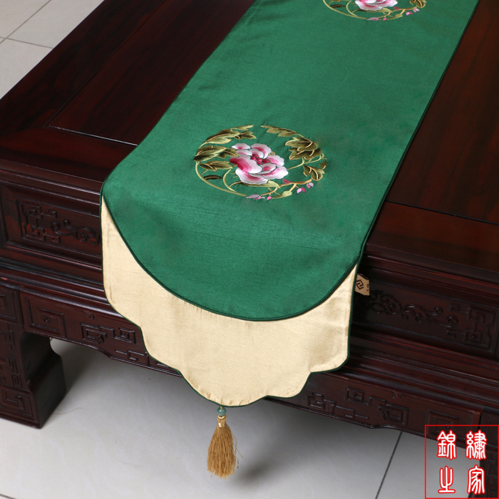 200*33cm Chinese Classic Luxurious embroidered Flower Pattern Brocade Green Table Runner and Bed Flag With Tassel(China (Mainland))