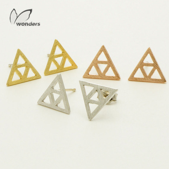 30pairs/lot-2015 Gold/Silver/Rose Gold Fashion Jewelry Stainless Steel TriForce Stud Earrings for Women<br><br>Aliexpress
