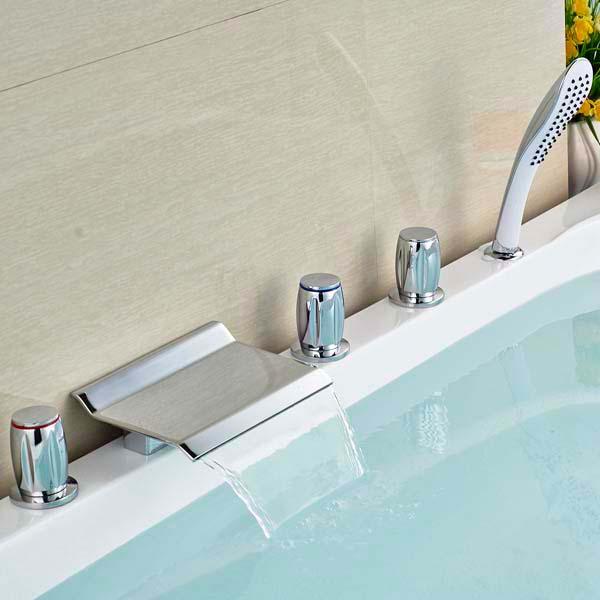 Здесь можно купить   Waterfall Bathroom Sink Faucet Three Handles Mixer Tap  Deck Mounted Chrome Brass  Waterfall Bathroom Sink Faucet Three Handles Mixer Tap  Deck Mounted Chrome Brass Дом и Сад
