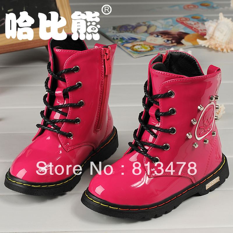 children shoes 2013 autumn winter child snow boots rivet leather fashion martin boys girls - wendy hou's store