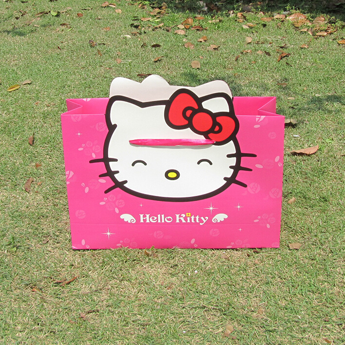 Wholesale 10 Pieces/ Lot Sweet Cute Hello Kitty Shopping Packing Lovely Bags Paper Bag ,Free Shipping!!!!(China (Mainland))