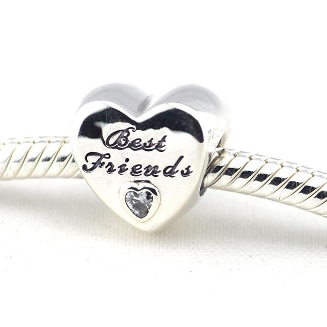 Осень стиль серебряные ювелирные изделия 925 дружба в форме сердца серебряный бусины Fit пандора оригинальный подвески браслеты DIY ювелирных украшений
