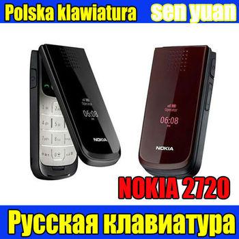 2720 Unlocked Refurbished Nokia 2720 refurbishment cell phone one year warranty  Russian Poland keyboard   Free shipping