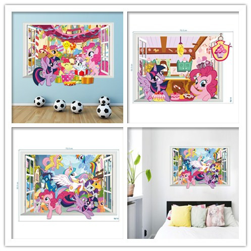 % 3 designs Lovely 3D fake window my Little Pony Wall Stickers Kids Rooms bedroom Nursery Baby Room Decoration Wallpaper Gift(China (Mainland))