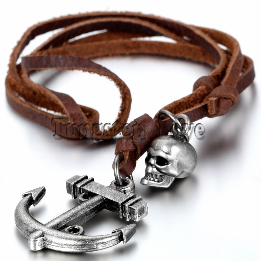 New Brown Leather Necklace Punk Vintage Jewelry Skull Anchor Pendant Necklace for men collares 77m Rope Chain adjustable(China (Mainland))