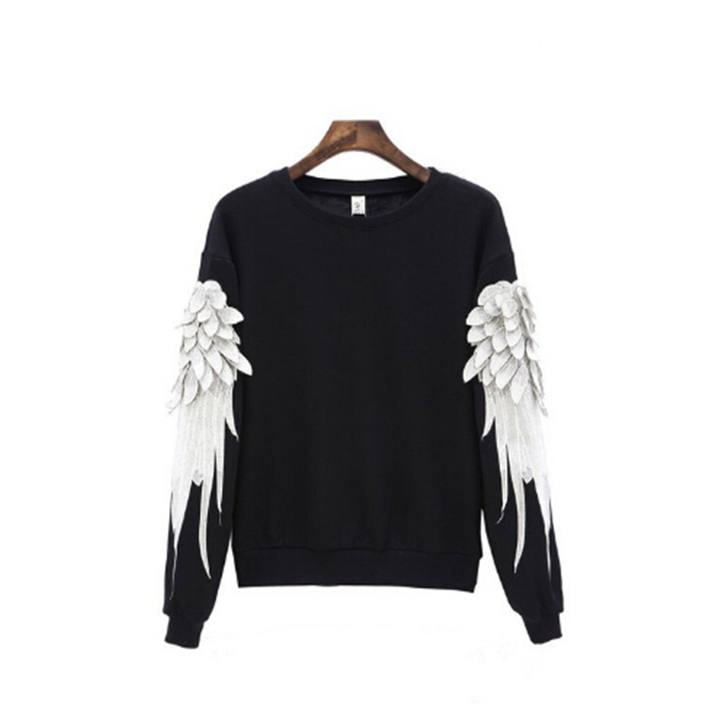 2016 Boyfriend Style Women Oversize Hoodies Wings Embroidery Women Cotton Sweatshirt Pullover Ladies Gray Hoodies Women Tops(China (Mainland))