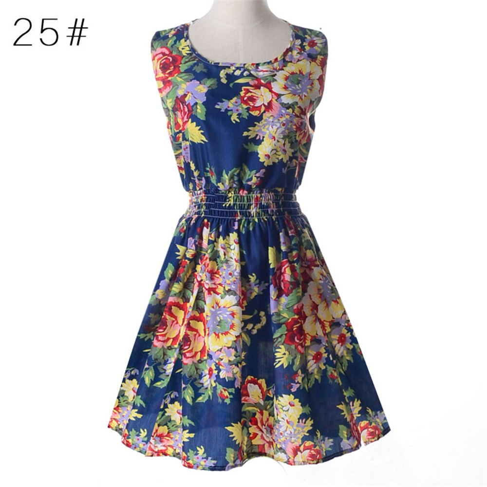 Fashion Tunic Women Dress 2016 Plus Size XXL O-neck WOMEN DRESS Summer Style Floral Print Casual Dresses Women Vestidos Woman (51)