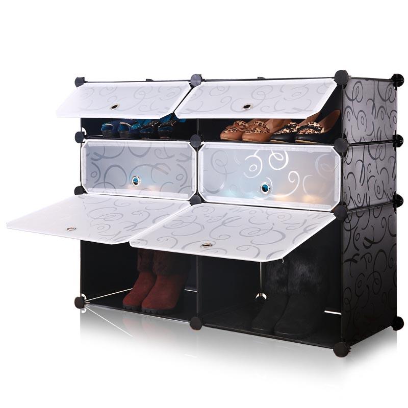 Cheap increased widening modular simple wardrobe shoe rack plastic boots storage cabinet dust creative magic piece diy<br>