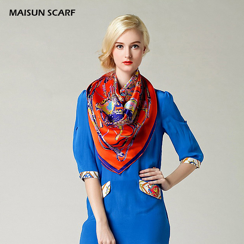 100% Silk Crepe Satin Plain Large Square Scarves 12mm 90 x 90cm fashion scarf(China (Mainland))