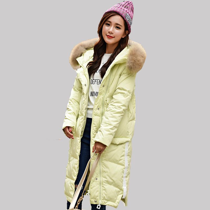 2016 новая зимняя куртка Повседневная Женская длинный толстый Надьямарош воротник пальто Женская мода большой карман над коленом теплый Парок JA154