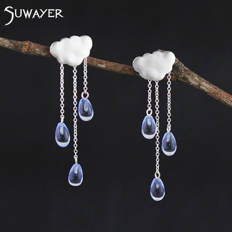 SUWAYER 925 Sterling Silver Cloud Crystal Stud Earrings Handmade Crystal 925 Silver Earrings For Women Jewelry(China (Mainland))