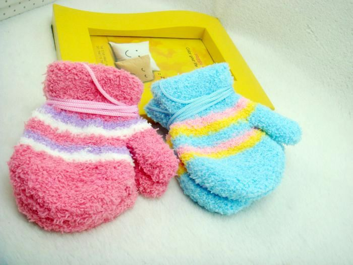Free Shipping 12pairs/lot Baby Kids Mittens Gloves Coral Fleece Children Warm Winter Five Finger Gloves Gifts Candy Color(China (Mainland))