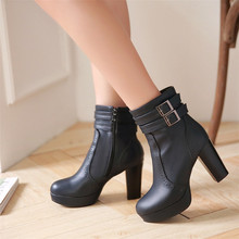 Buy Spring Autumn Winter Platform High Heels Ankle Boots Women Short Boots Ladies Shoes botas botte femme Plus Size 34-40 41 42 43 for $31.45 in AliExpress store