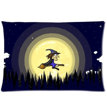 Fashion Home Office Decorative 50X75 CM Throw pillow cover The old witch riding a broom Bedding Sets Pillowcase New Home(China (Mainland))