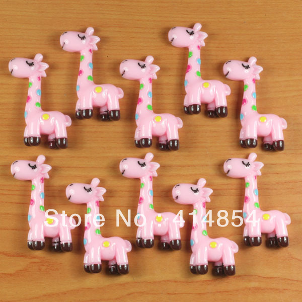 Wholesale 50 pcs Cute Pink Giraffe Resin Flatbacks Flat Back Scrapbooking Hair Bow Center Crafts Making Embellishments DIY(China (Mainland))