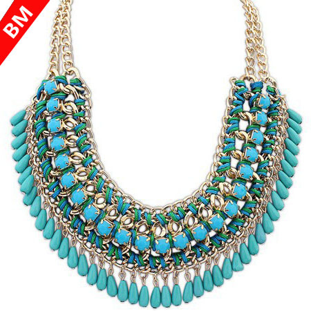 2015 Retro Bohemian Necklaces Vintage Necklace Acrylic Romantic Maxi Collier Collar Choker Statement Necklaces Fashion for Women(China (Mainland))