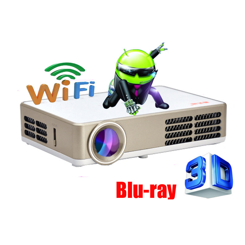 Android Wifi 3000Lumens HDMI VGA USB TF Blue Ray 3D Portable LCD Video LED Mini DLP Projector Proyector fUll hD Beamer Projetor(China (Mainland))