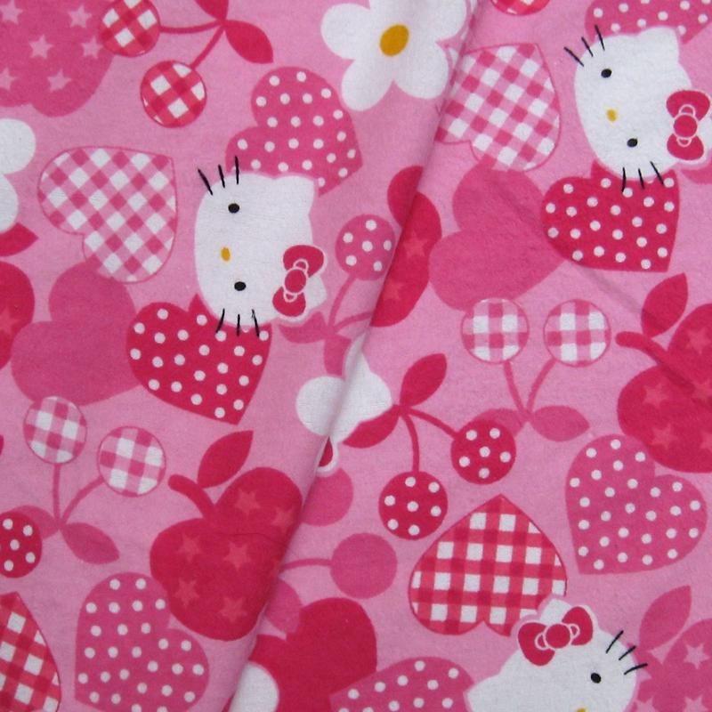 S008 - Cotton Flannel Fabric - Hello kitty - Heart/Apple/Cherry (width=108cm)(China (Mainland))