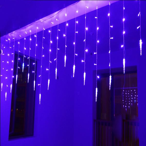wholesale 220V 4*0.6M 120leds led icicle curtain lights for Xmas tree garden home decoration Christmas led string waterproof(China (Mainland))