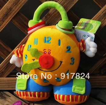 Free shipping-5pcs/lot TOLO cute plush toy colorful smiling activity clock toy Educational Baby Infant Toys