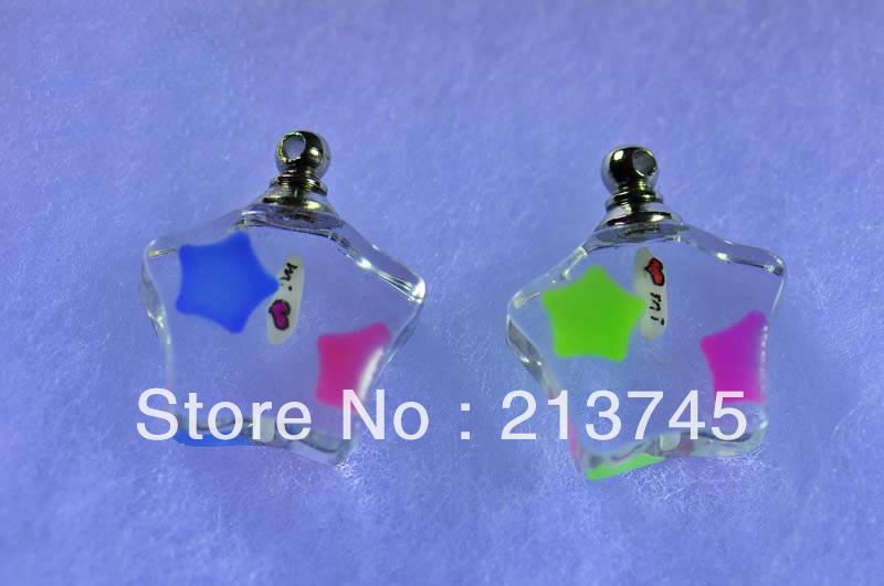 Promotion!! luminous Five Stars crystal Vial Pendant rice art pendant wish perfume bottle The stars in the flashing(China (Mainland))