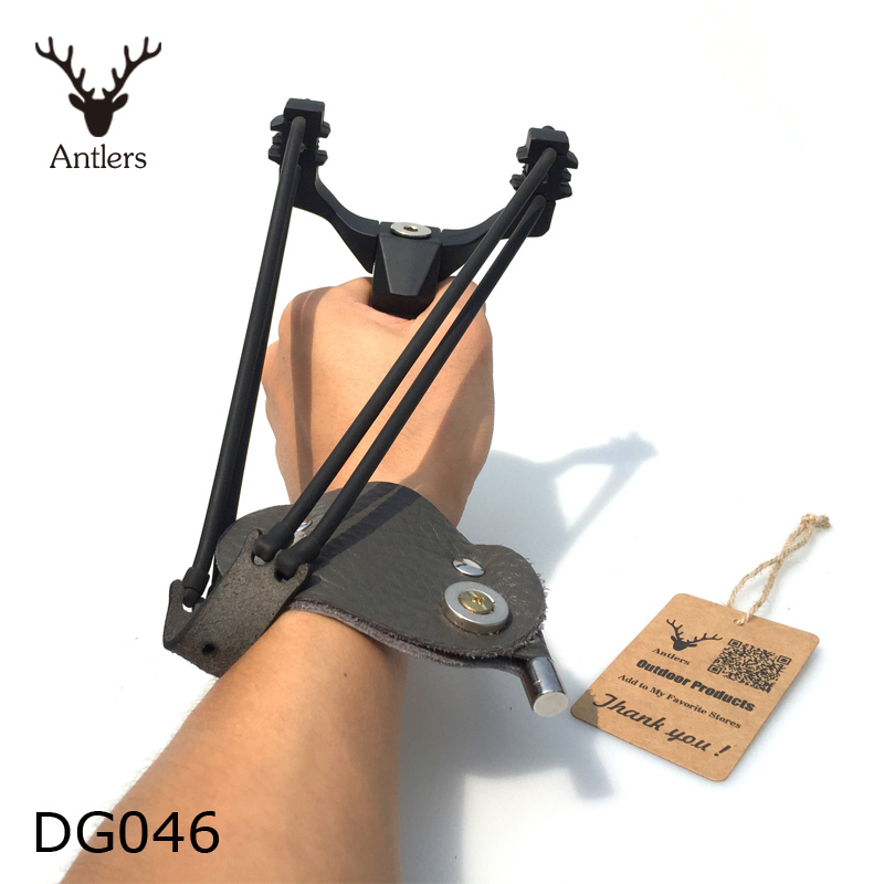 1PC Powerful Thunderstorm Steel Slingshot Catapult Wrist Sling Shot Outdoor Hunting Hunter 3PCS Rubber Bands 100